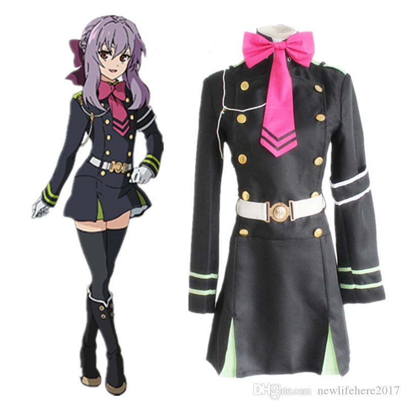Seraph Of The End Hiiragi Shinoa Wigs Cosplay Costumes Police Uniforms Girls Dress+Tie+Belt+Strap+Hair Accessory
