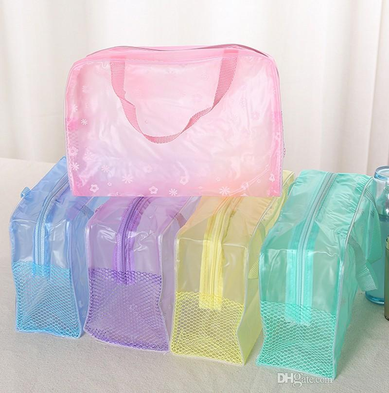 5 Colors Make Up zipper bag toiletry bathing Storage Bag women waterproof Transparent floral PVC travel cosmetic bag
