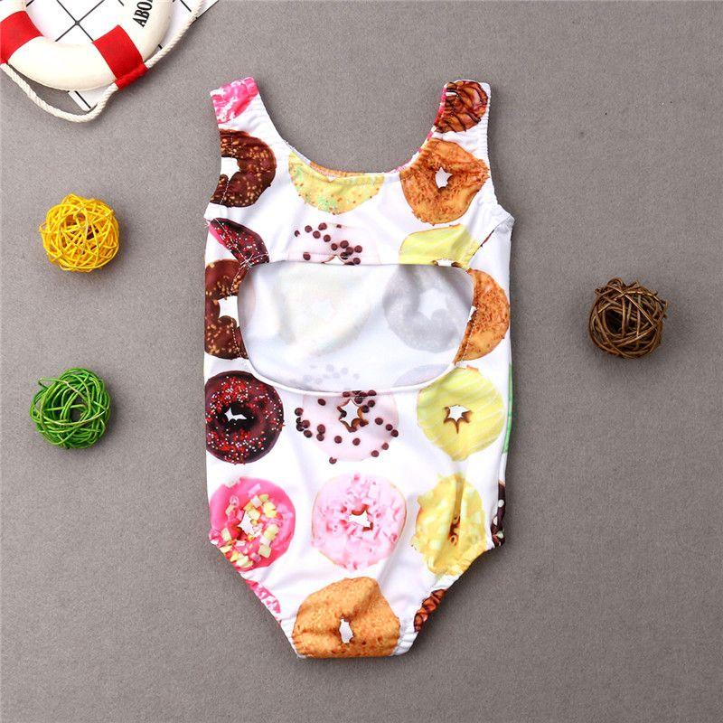 Малыш Детские ребёнки пончик Printed Купальники лето без рукавов Купальники Купальники Дети Цельный бикини Tankini 1-6T