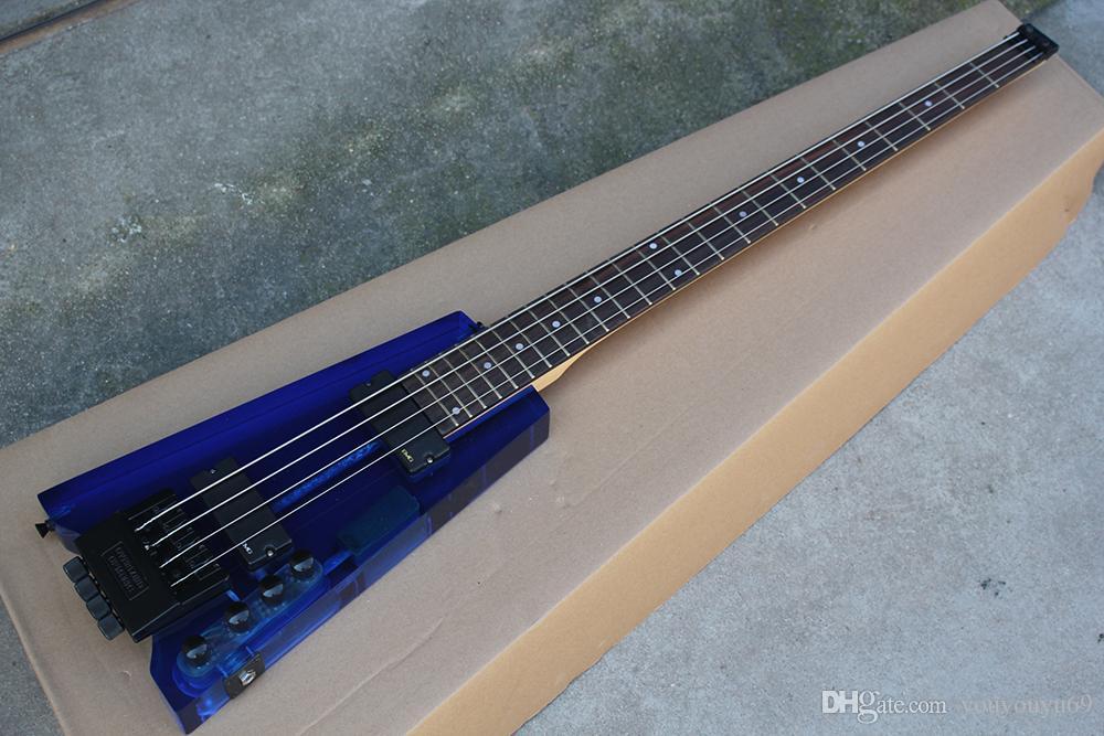 4 Saiten Headless-E-Bass mit Acrylglaskörper, Palisander-Skala, schwarzes Schmiedeeisen mit persönlichem Service