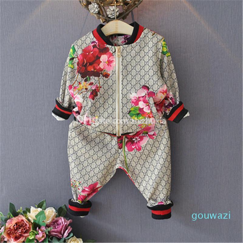2020 فتاة الربيع الخريفي الناعمة ترتدي ملابس ذات نوعية عالية من أزهار القطن المطرزة للأطفال