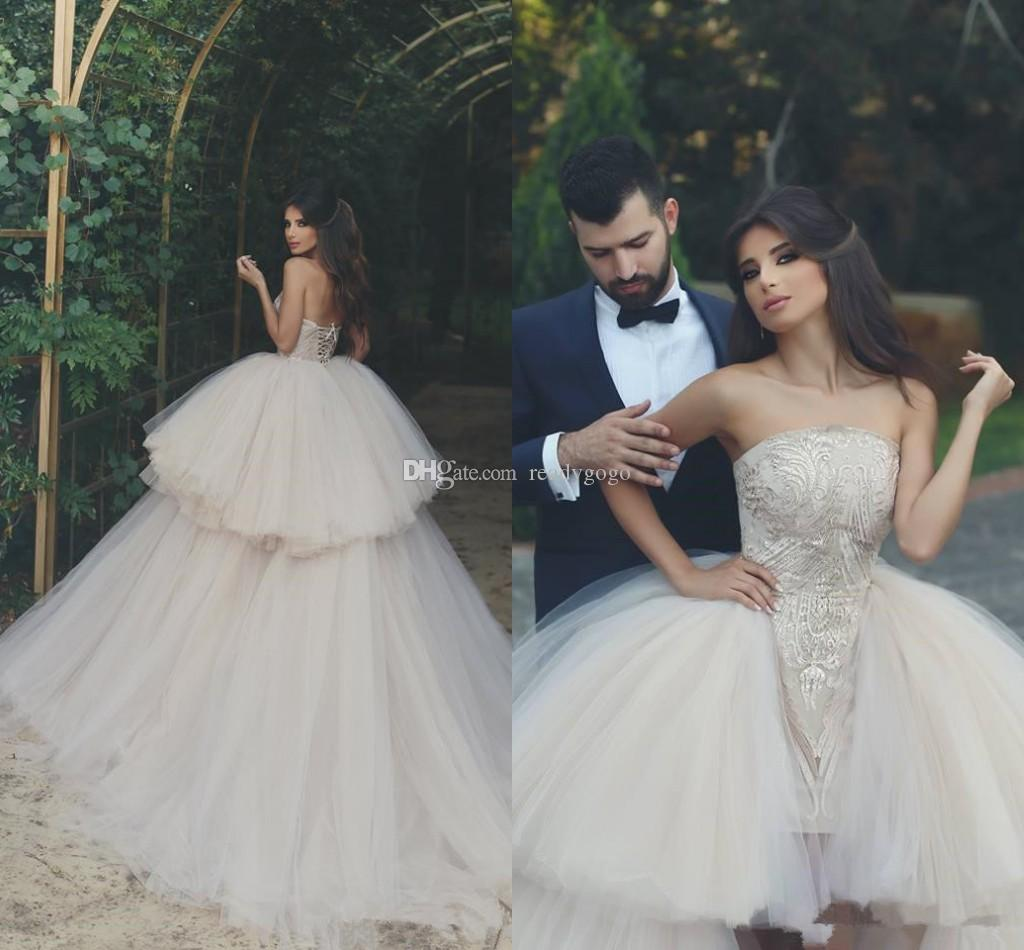Short Wedding Dresses With Ball Gown Detachable Train 2019 Strapless Corset Lace-up Back Beach Garden Tulle Lace Wedding Dress