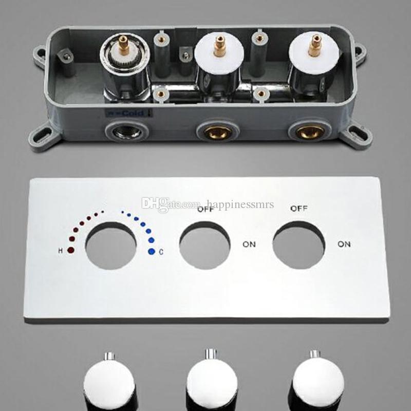 مرآة لوحة النحاس المصنوع من Embede مربع إخفاء تجهيزات الحمام دش مجموعة خلاط تحكم المياه 2 الطريقة