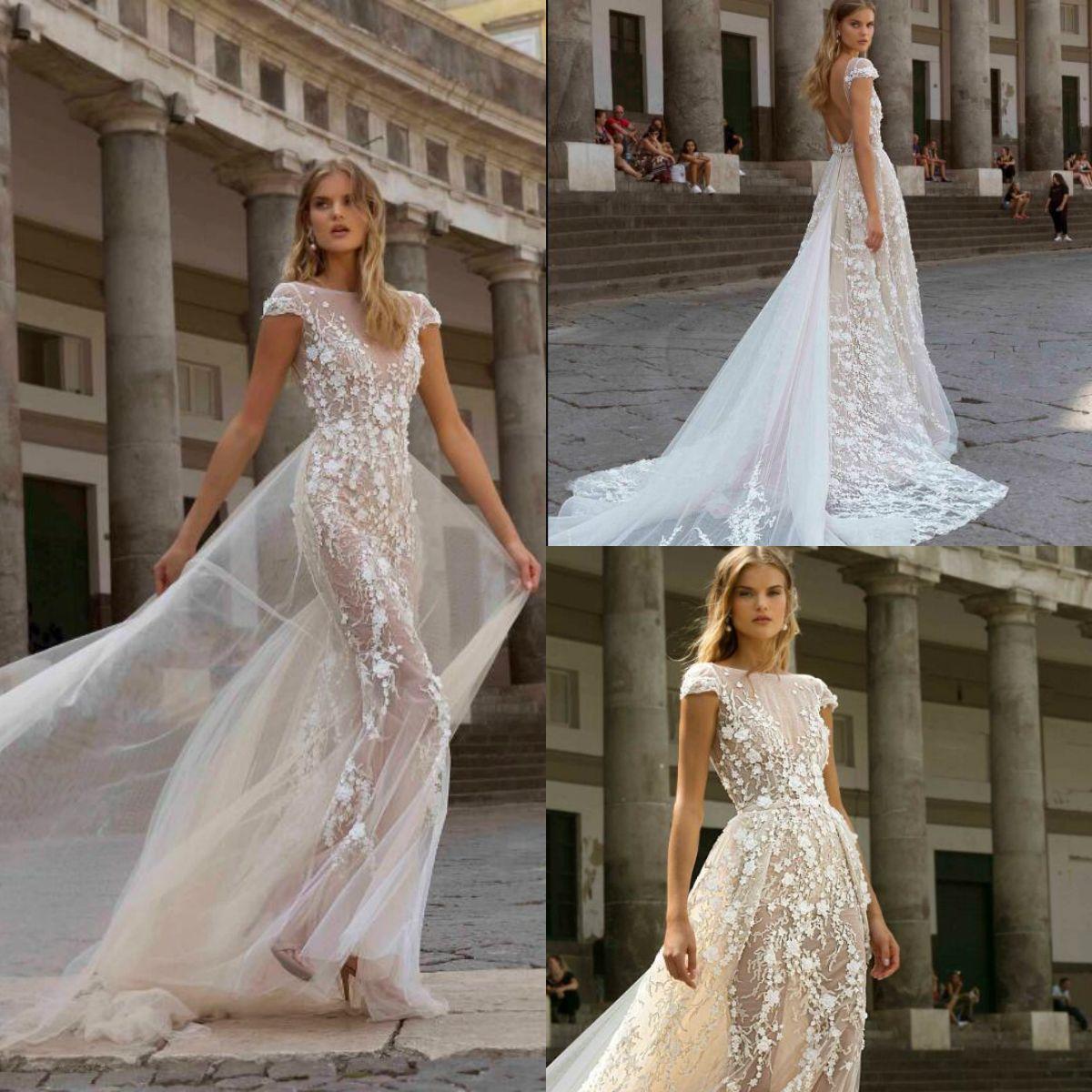 2020 Berta Sereia vestidos de casamento com trem destacável Lace Applique da luva do tampão Boho do vestido de casamento Backless vestidos de noiva Vestidos de novia