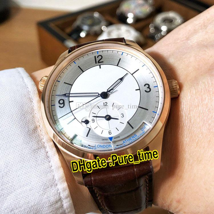New Master Control Master Geographic 1428530 Q1428530 White Dial Automatic Mens Watch Rose Gold Case Brown Leather Strap Watches Pure_Time