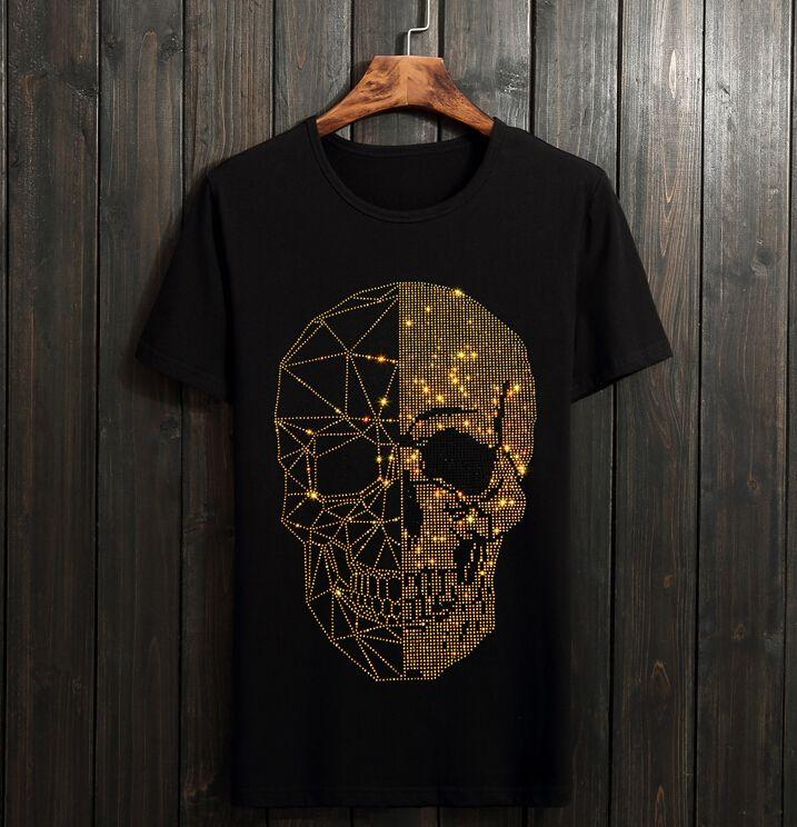 Homens Strass T Camisas de Algodão 100% O Pescoço de Manga Curta Slim Fit Camiseta Homme Homem Roupas de Moda 01