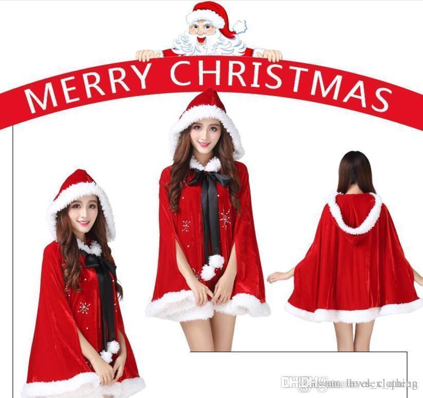 2018 vestito natalizio, mantello di Natale per adulti, mantello, cappuccetto rosso, mantello di Natale, festa per bambini, costume di scena.5pcs
