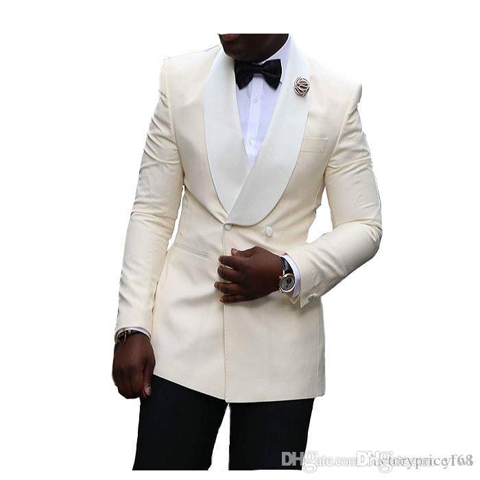 Elfenbein Smoking Bräutigam Hochzeit Männer Anzüge Herren Hochzeit Anzüge Smoking Kostüme Rauchen für Männer Männer (Jacke + Hose + Krawatte) 022