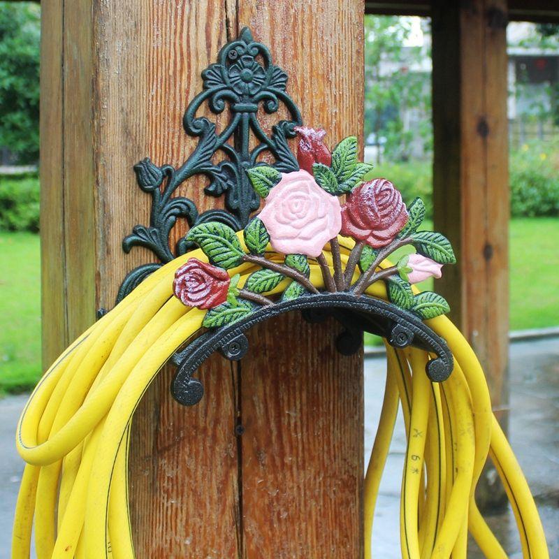 Suporte de mangueira Ferro Fundido Rosa Flor Decorativa Mangueira Reel Hanger Suporte de Mangueira de Jardim Antigo Suporte de Parede Gramado Equipamento de Jardim Decoração de Casa