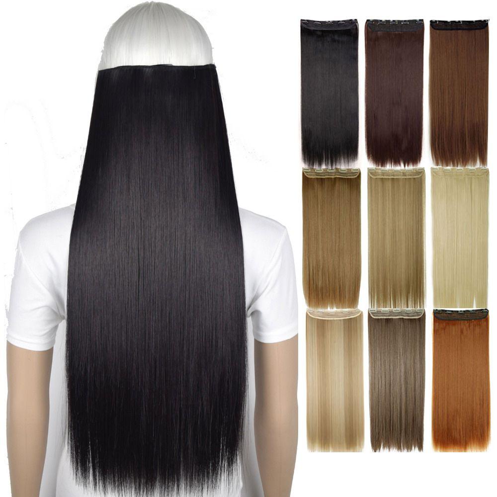 """24 """"كليب 120G في الشعر التمديد مستقيم قطعة أومبير واحدة كاملة لونغ رئيس الطبيعية الكاذبة الاصطناعية قطع الشعر مع لقطات"""