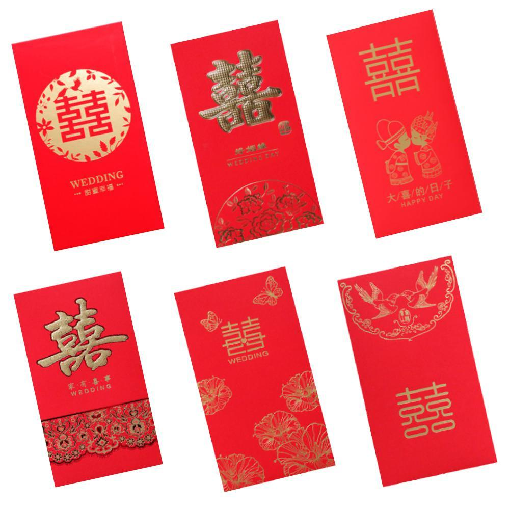 AsyPets 6Pcs/Set Hot Stamping Hard Paper Lucky Money Envelope for New Year Wedding Party