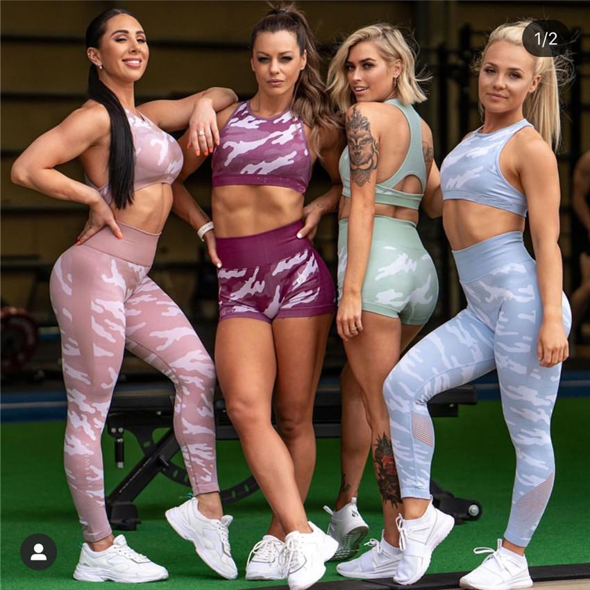 Mulheres Seamless Camo Sets Yoga Wear Elastic Fitness Gym Camouflage Sports Suit 2 pedaço Bra calças Top Workout Leggings Sportswear T200617