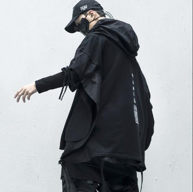 Estilo Streetwear Man Hoodies Hip Hop Embroideried pulôver Patchwork Falso Two DarkWear Tops Techwear Hoodies