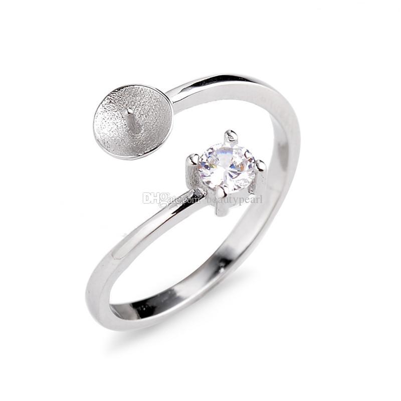 Elegante Stile Classico Pearl Ring montaggi argento 925 Set punte rotonde consecutive bianco zircone 5 Pezzi