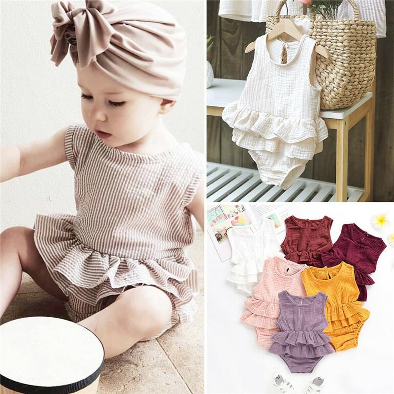 PUDCOCO Fashion Newborn Kids Baby Girls Clothes Sleeveless Romper Tutu Dress Cotton Linen Outfit