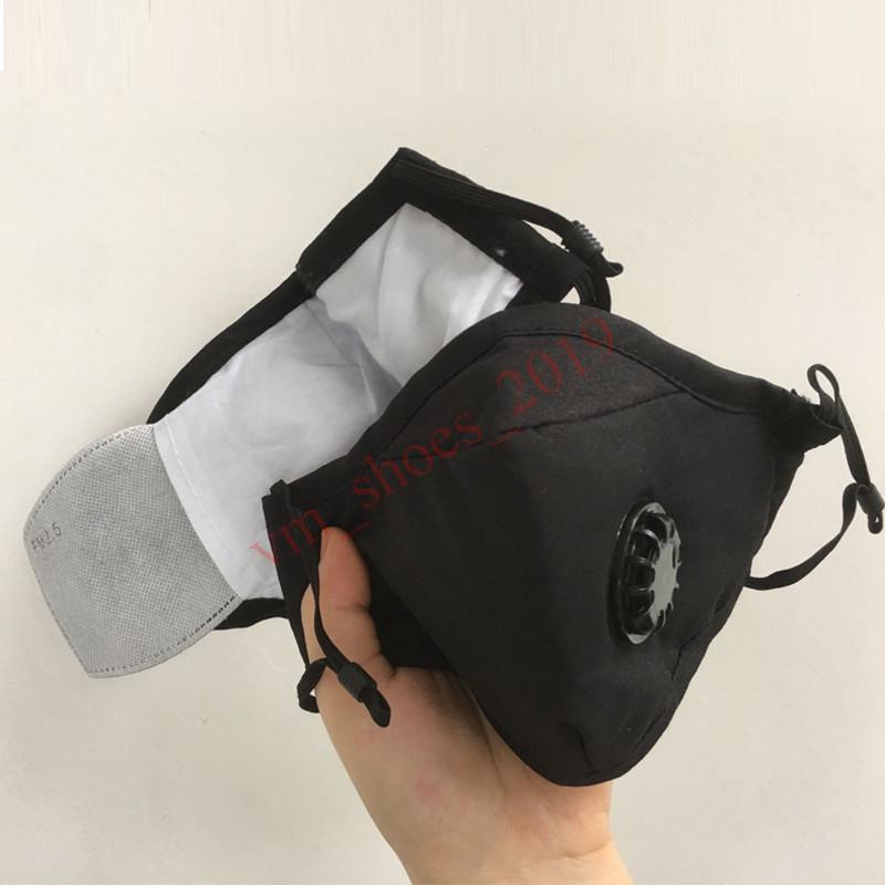 Art und Weise Unisex Baumwolle Gesichtsmasken mit Atemventil Mundmaske Anti-Staub wiederverwendbare Stoffmaske mit PM2.5 Filter für Männer Frauen