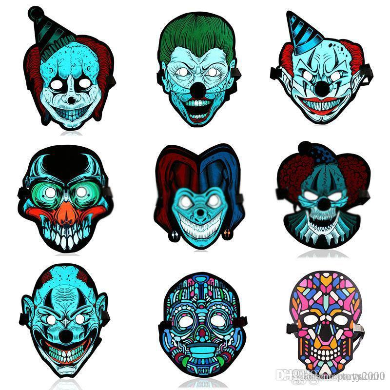 Halloween LED Control Voice Luminous Light Airsoft Full-face Mask Cosplay Masks Disfraces Carnaval Glowing Flash Party Supplies DHL
