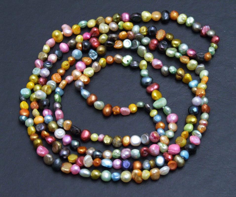 """Новый 4-5 мм барокко многоцветный натуральный жемчуг 40"""" длинное ожерелье для женщин ювелирные изделия"""