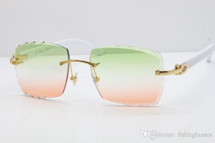 2019 Superior-Lieferanten-freies Verschiffen 3524012 Randlos Sonnenbrille Weiß Aztec SunGlasses Metall Mix Arme Sonnenbrillen Unisex-Sonnenbrille