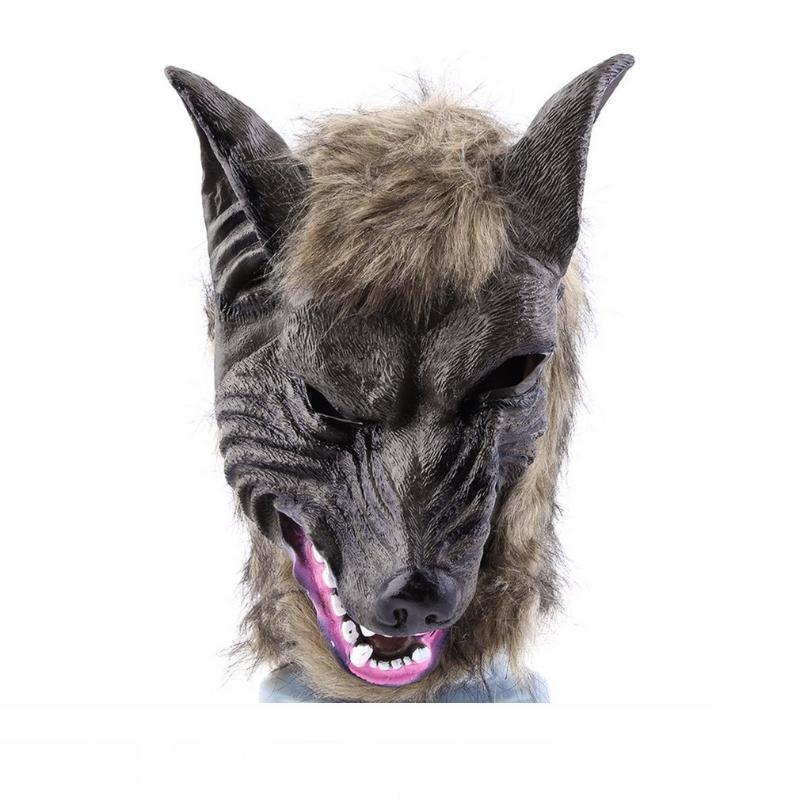 Взрослые И Дети Латексное Животное Волчья Голова С Волосяной Маской Маскарадный Костюм Костюмированная Вечеринка Страшный Хэллоуин С Серым Цветом