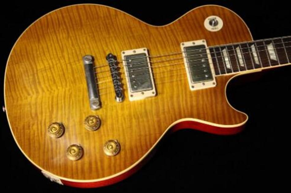 1959 Kirli limon bitirmek Standart gitar; 1PC maun gövde ve boyun; 2adet katı alev akçaağaç üst; sert kılıf dahil