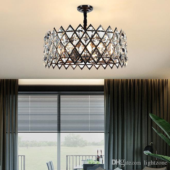 تصميم جديد عصري الثريات الكريستالية السوداء الفاخرة الإضاءة قاد مصابيح قلادة أمريكية مبدعة لغرفة المعيشة غرفة دراسة غرفة الطعام