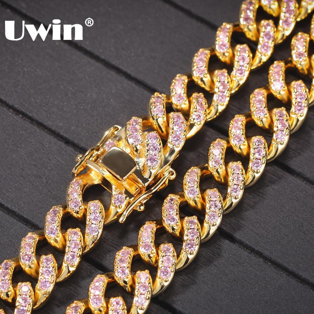 UWIN Femmes Rose Cubique Zircone Choker Colliers 12mm mode Hiphop Or Couleur Cubain Lien Chaîne Bijoux Drop Shipping