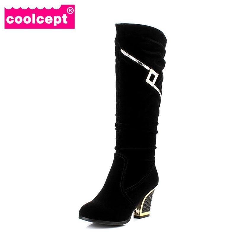mulheres Coolcept salto alto meia curta calçados carregador meados bezerro quente neve do inverno botas de glitter escritório trabalho sapatos P21861 tamanho 34-40
