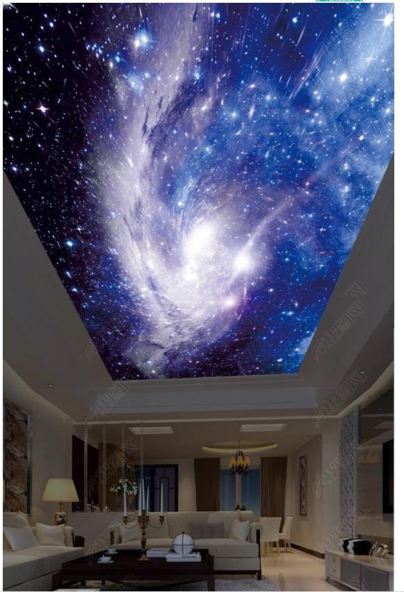 Großhandel-Interior Decke 3D Tapete benutzerdefinierte Wandbilder Tapete Fantasy Starry Sky HD großes Bild Decke Zen Top Malerei Hintergrund