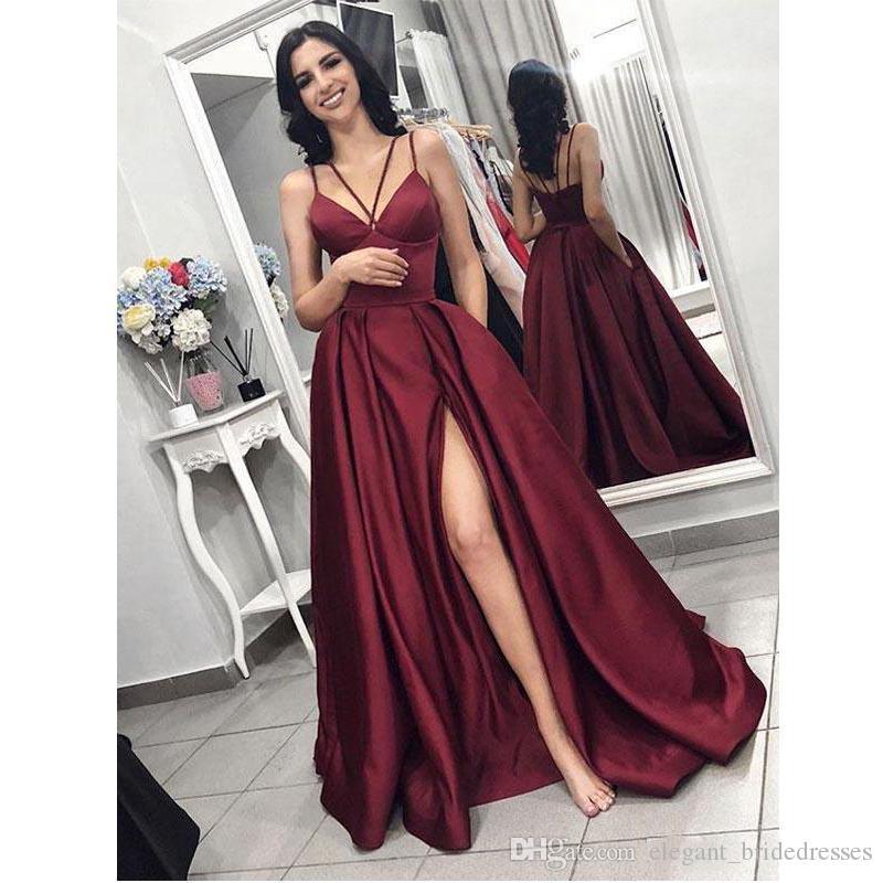Robes de soirée bordeaux élégante une ligne robe de bal avec fente Split 2020 femmes robe de soirée en satin robe de soirée robe de fête