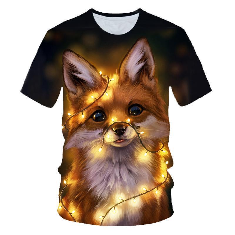 3D Fox печати футболки Мужчины Женщины Лето Harajuku Одежда Хип-хоп моды тройники Tops Симпатичные животные Графический T-Shirt 2XS-4XL