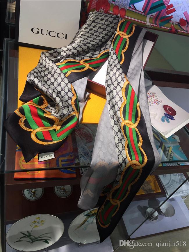 Gasa de seda de la marca bufanda de las mujeres suaves cuatro estaciones Turismo vacacional bufandas de lujo de Impresión de cartas Mantón de seda larga al por mayor