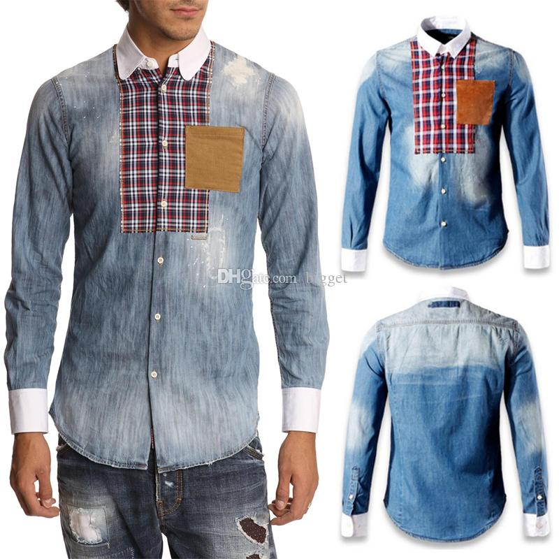 3XL Denim Cotton Long Shirt Cool Guy Stone Wash Fading Effect Buttoned Cuffs Cowboy Shirt Man Slim Fitness