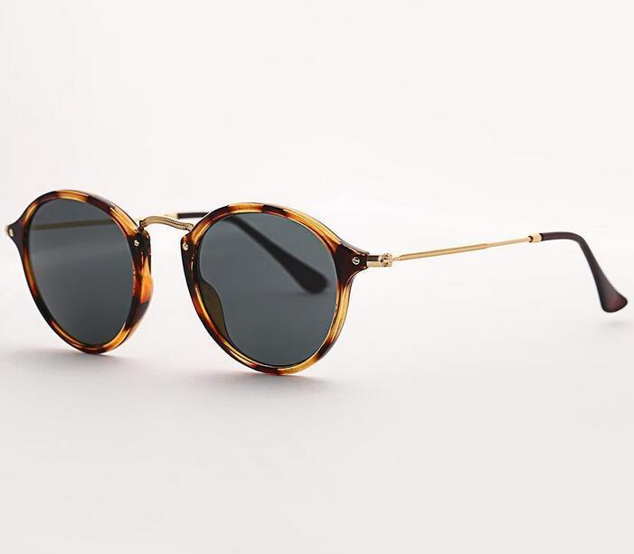 K Bolo .Ban 2447 Round Fleck Sunglasses Women 49mm Glass Lens Mirror Tortoise Sun Glasses Gafas Uv400dr