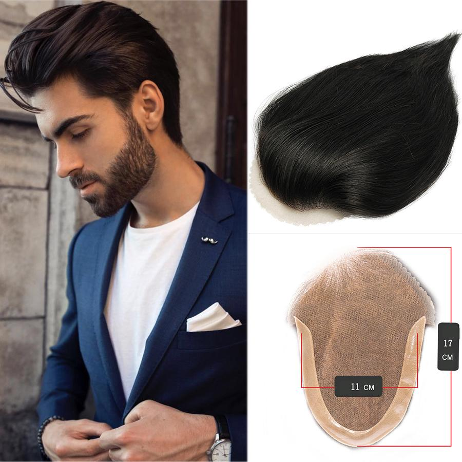 Men's Toupee Human Hair Wigs Black Bacteria-free Inner Net Men's Wig Lace Frontal Closure Short Wig For Men European African American Style