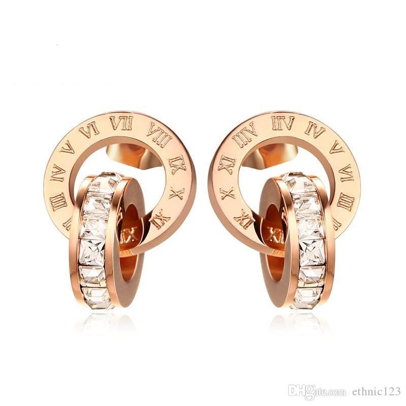 로즈 골드 컬러 여성을위한 패션 단순한 여자의 반지 술의 귀걸이 스테인레스 스틸 보석 귀걸이 쥬얼리 선물 J155