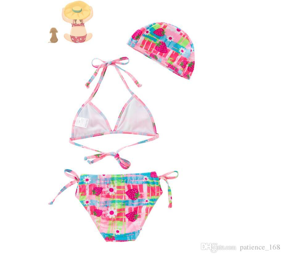 680c4ed090 kids girls swimsuit 2019 new arrivals hot selling girl kids cute pink  bikini summer girl cute strawberry printed Two-Pieces +swimming caps