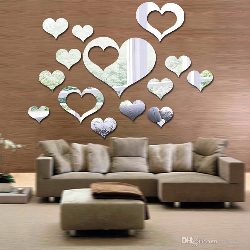 Любовь стены стикеры на стене 3D Зеркало цветочного искусства Съемный стикер стены Акриловая Mural Decal дома декора комнаты droship HH9-2660