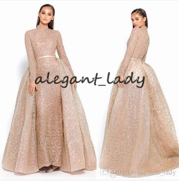 Yousef Aljasmi 샴페인 골드 긴 소매 이브닝 드레스 Overskirt와 2019 높은 목 이슬람 두바이 아랍어 반짝 이는 싸구려 공식적인 가운