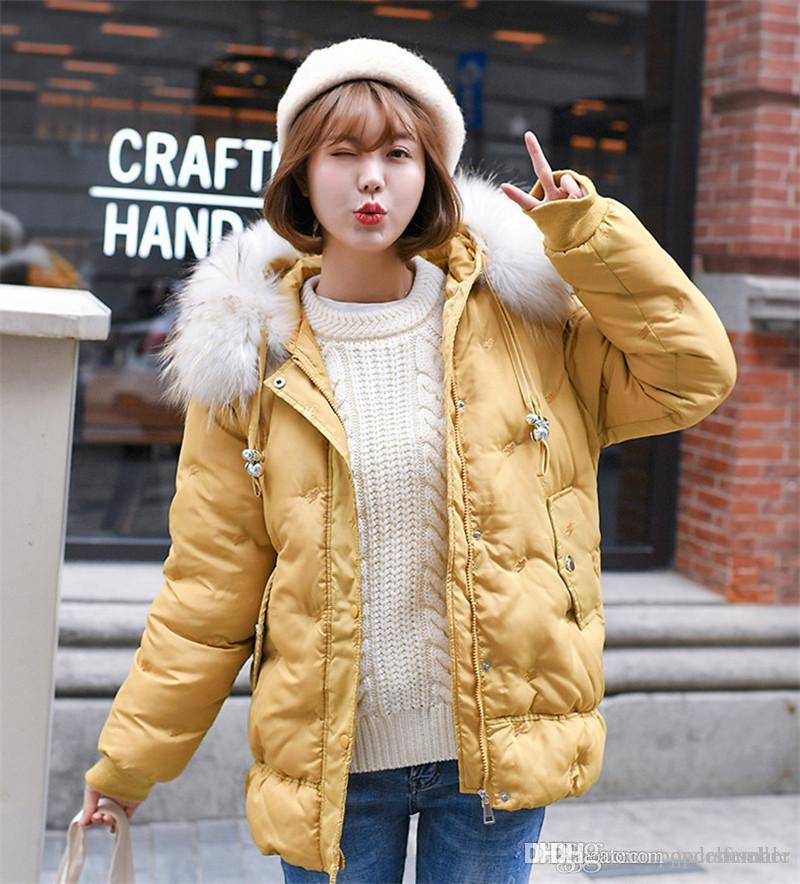 Frauen Winter-Designer Jacken der neuen modernen Art-Baumwolle gepolsterten Mantel Frauen verdickte Brot Oberbekleidung Damen-Kleid