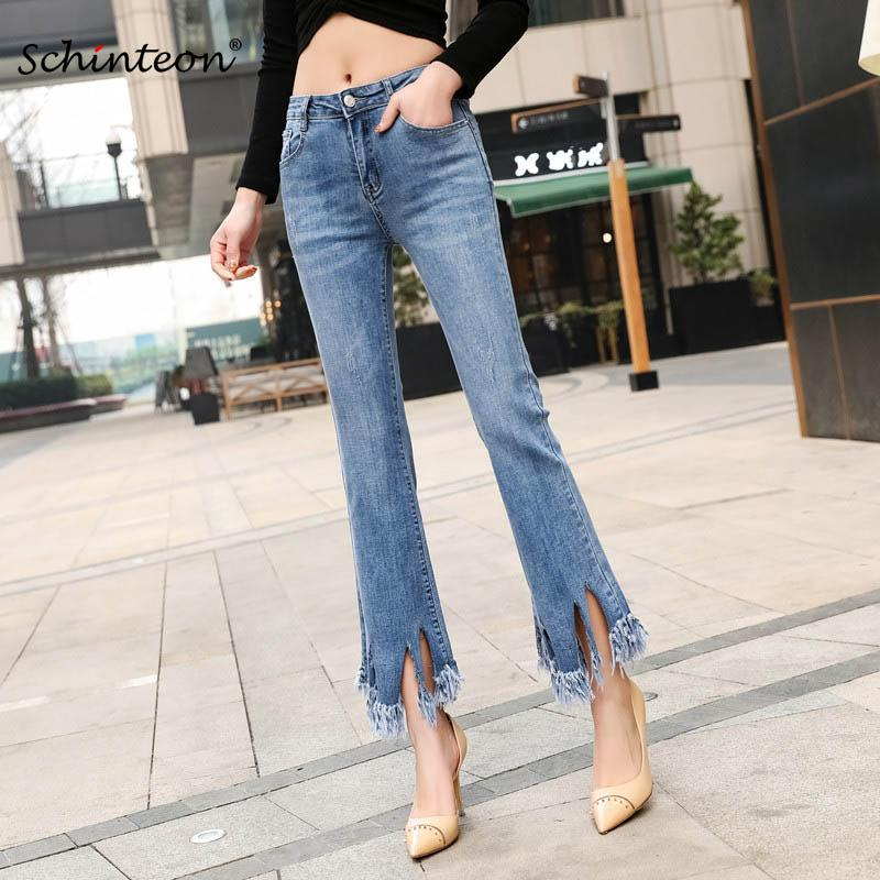 2019 Primavera Schinteon Plus Size Mulheres Denim Tornozelo-Comprimento Calças Borla Cintura Alta Elasticidade Calças Moda Tamanho 38 40