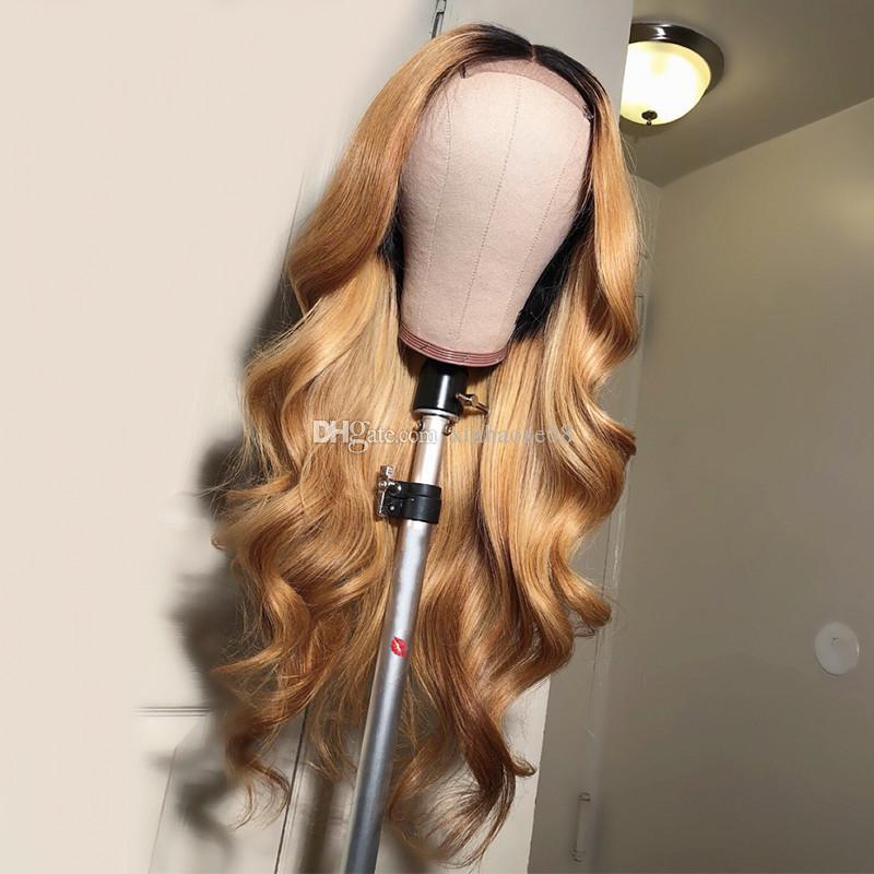 1b 27 شقراء كامل الرباط الباروكات الشعر البشري غلويليس العذراء الجسم موجة شقراء أومبير الدانتيل الباروكات للنساء البيض ابيض عقدة