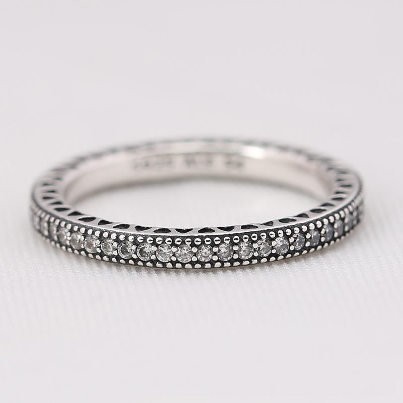 Wholesale- Silver Full CZ Diamond RING LOGO Original Box for Pandora Wedding Ring Engagement Jewelry Rings for Women Girls