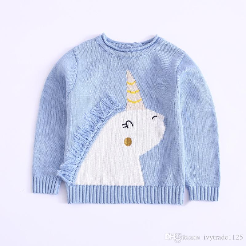 Girl kids clothing pullover sweaer round collar Unicorn design long sleeved knitted sweater boy girl clothing sweater
