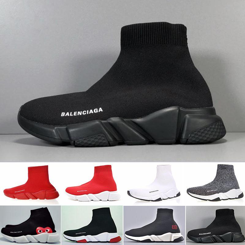 Sneakers Hız Trainer Siyah Kırmızı Gypsophila Üçlü Siyah Moda Düz Çorap Çizmeler Rahat Ayakkabılar Hız Trainer Koşucu Toz Torbası Ile KCI65-N2