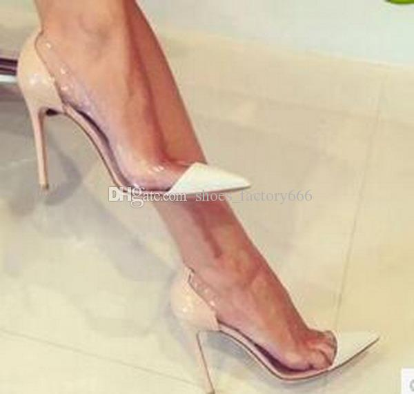 نفس الشيء إلى جيانفيتو روسي 2018 أحدث صيحات الموضة للنساء الكعوب العالية جلد حصري و PVC أشار تو مضخات أحذية اللباس حجم 34-45 + المربع الأصلي