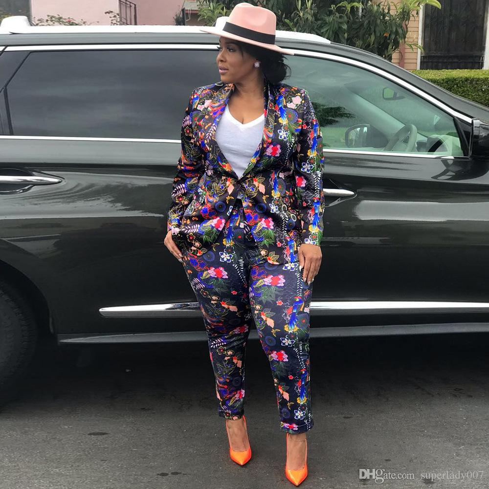 Slim long-sleeved jacket digital print women's suit two-piece women's two piece pants sexy nightclub pant suits