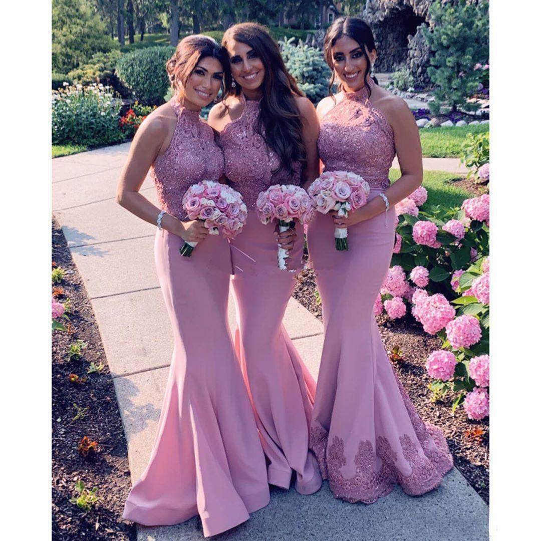 2020 Charming Lace Mermaid Bridesmaid Dresses Halter Neck Evening Dresses Beaded Wedding Guest Dress Sleeveless Sequined Maid Of Honor Gowns