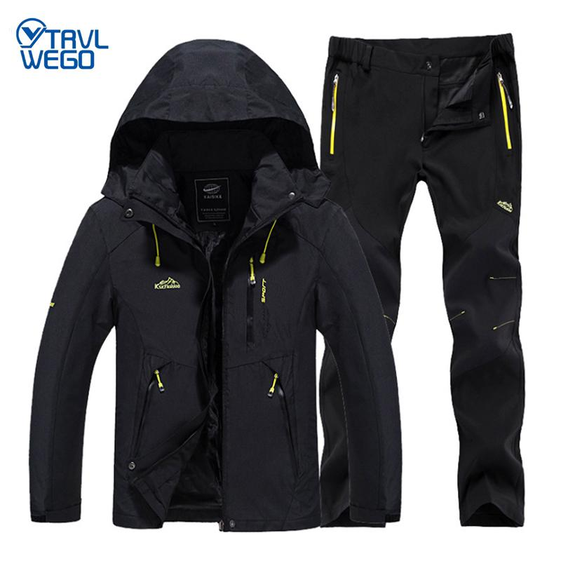 TRVLWEGO Men Spring Fishing Hiking Jackets Trousers Set Camping Climbing Trekking Autumn Outdoor Travel Quick Dry Suit Pant Coat