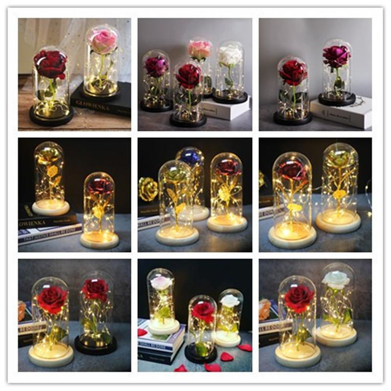 Rose Flower LED casamento Artificial Enchanted Rose In Glass Christmas Gift Dome presente de aniversário para namorada